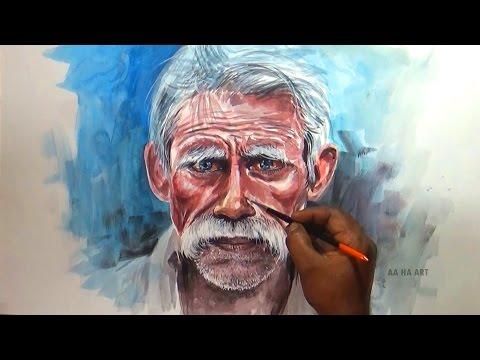 Portrait old indian man watercolor portrait painting old man portrait painting altavistaventures Image collections
