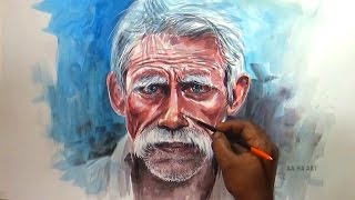 Watercolor Painting - Old Man Portrait Painting In This video i pai...