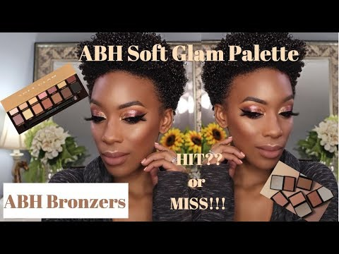 ABH Soft Glam Palette & Bronzer on Deep Skin! HIT OR MISS?? Review + Swatches