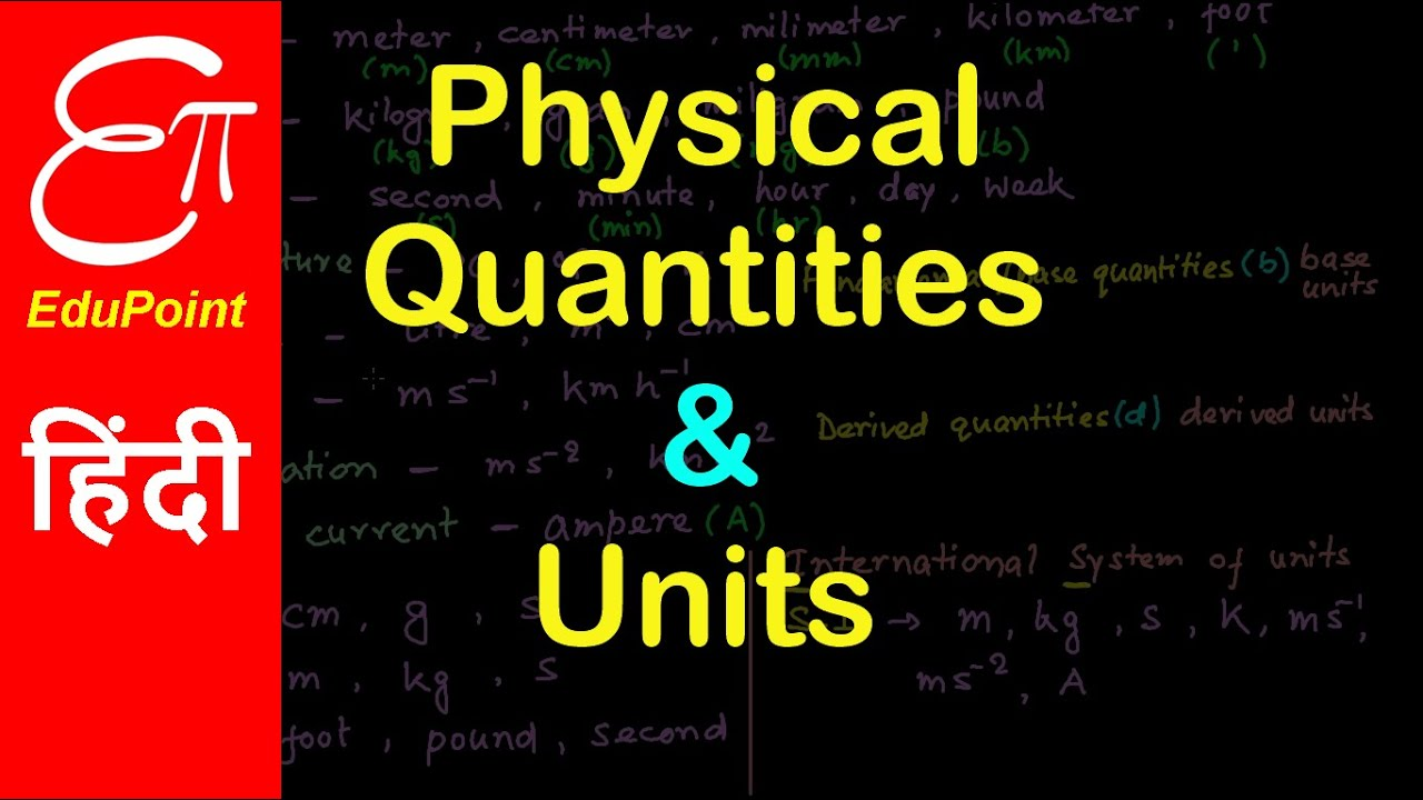 Physical Quantities and Units for Class 11 | in HINDI