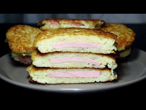 Завтрак за 10 минут! Картофельные деруны с колбасой. Супер рецепт