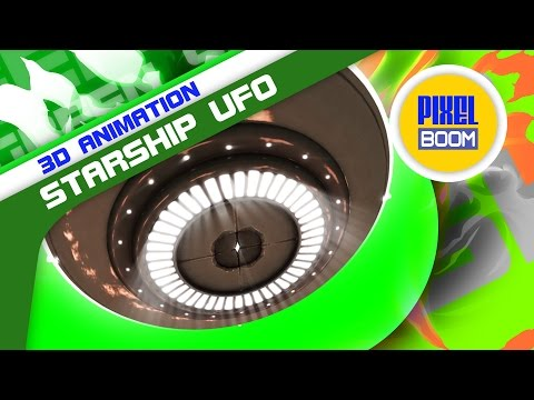 Green Screen Starship UFO Fly Over Energy Lights - Footage PixelBoom