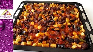 Fırında Köfteli Patlıcan Kebabı Tarifi / Pratik Yemek Tarifleri