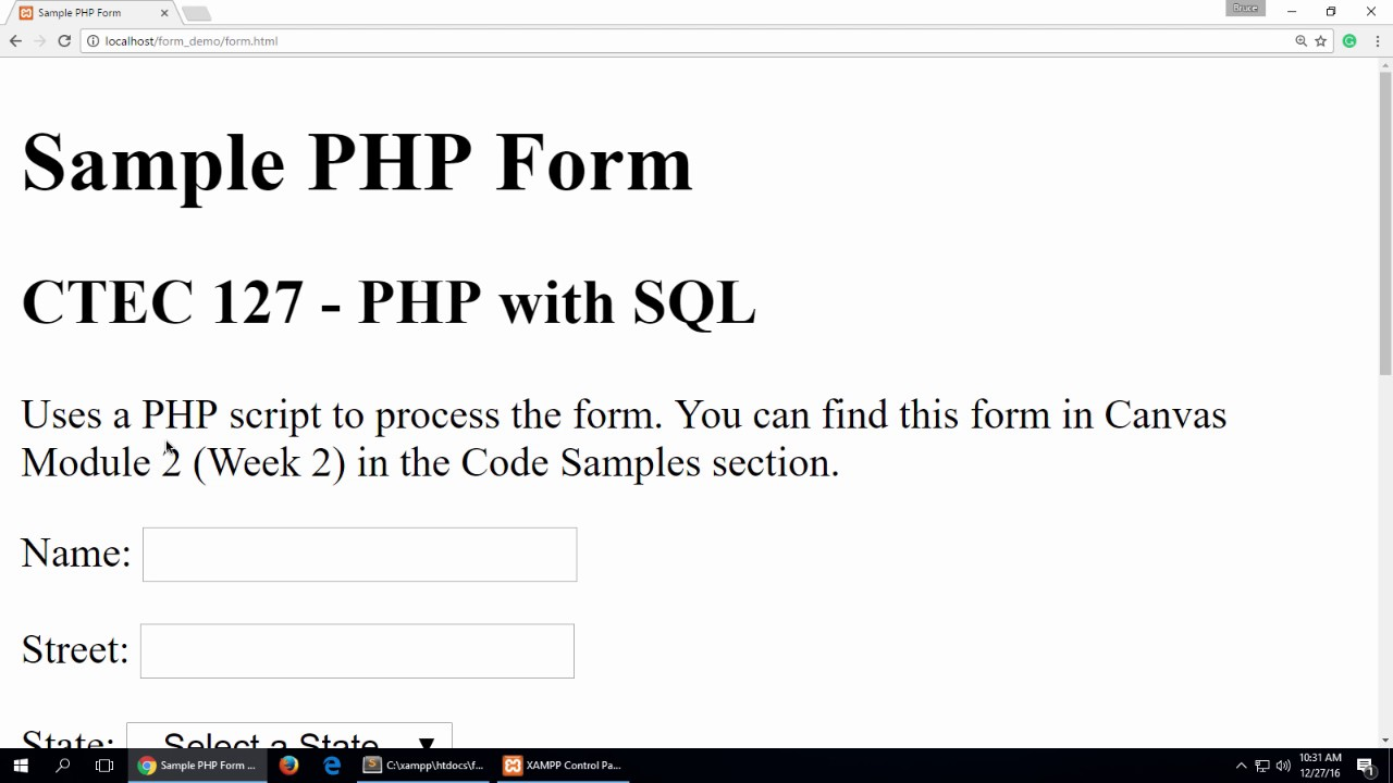 Processing an HTML Form with PHP - Part 1 - YouTube