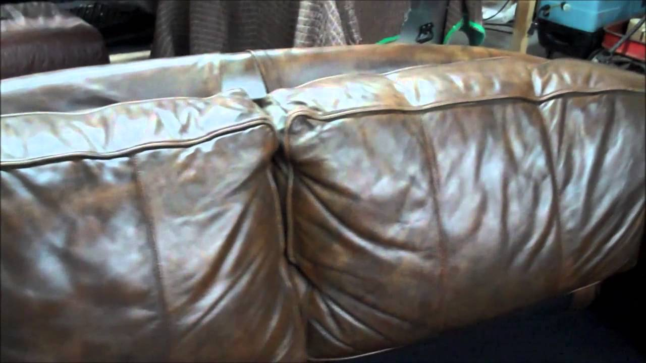 Brown Leather Sofa Color Restoration Living Room Ideas With Red Clifton Nj Badly Faded And Damaged Aniline Repair Youtube Premium