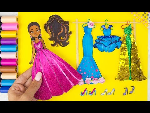 PAPER DOLL DRESSES SHOES PAINTING WITH GLITTER & DOLL DRESS UP PAPERCRAFT FOR GIRLS