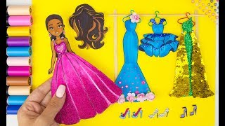 PAPER DOLL DRESSES SHOES PAINTING WITH GLITTER & MOANA DOLL DRESS UP PAPERCRAFT FOR GIRLS