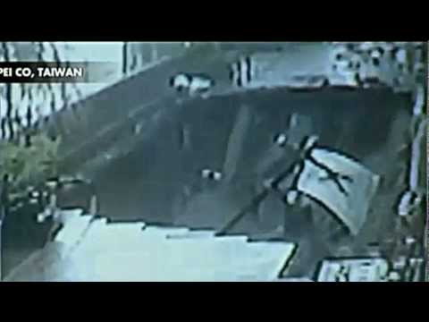 Scary Sinkhole Swallows Up Poor Man Security Cam Chupei, Taiwan