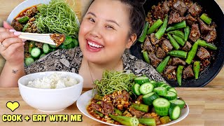 DELICIOUS JUICY GARLIC BUTTER STEAK RECIPE MUKBANG 먹방 (QUICK + EASY)  COOKING + EATING SHOW