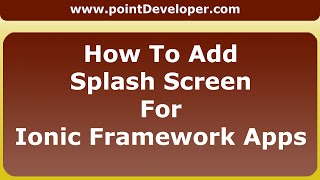 How to add splash screen for Ionic Framework Apps