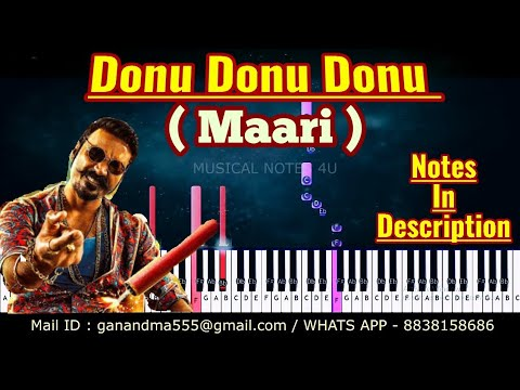 Donu Donu Donu piano notes & chords [ HD AUDIO ] { Aniruth } { Maari } synth tutorial
