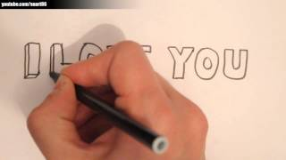 How to draw i love you in 3d