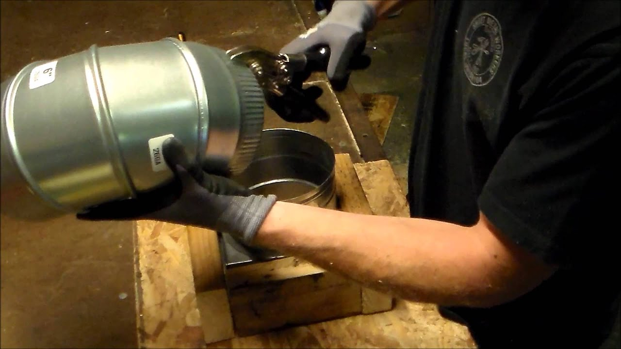 How to cut connect and install flex duct flexible pipe for heating - How To Install Duct Elbow Onto A Register Can Or Box For Heating And Air Conditioning Hvac Install Youtube