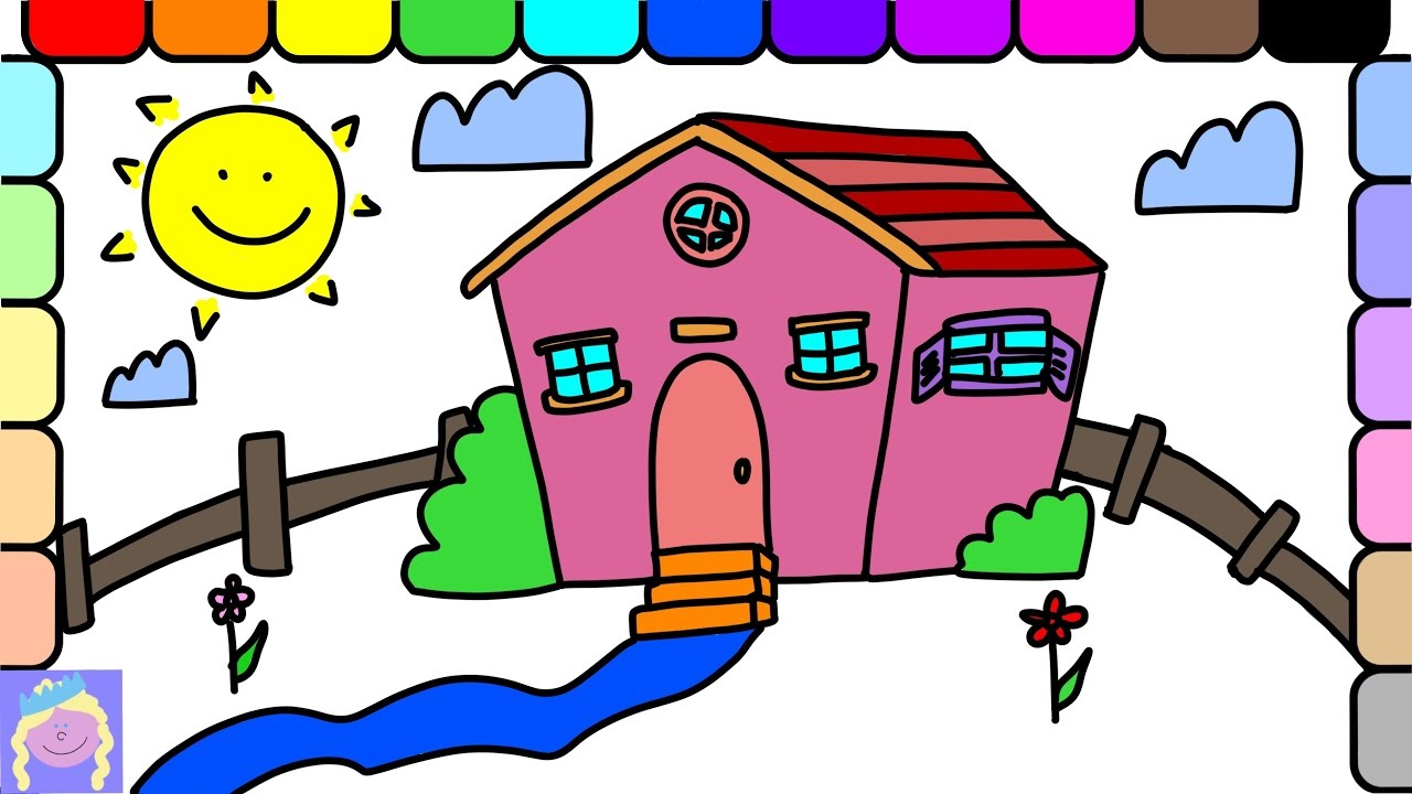 learn how to draw and color a pink house with this easy drawing and coloring page for kids - House Drawing Easy