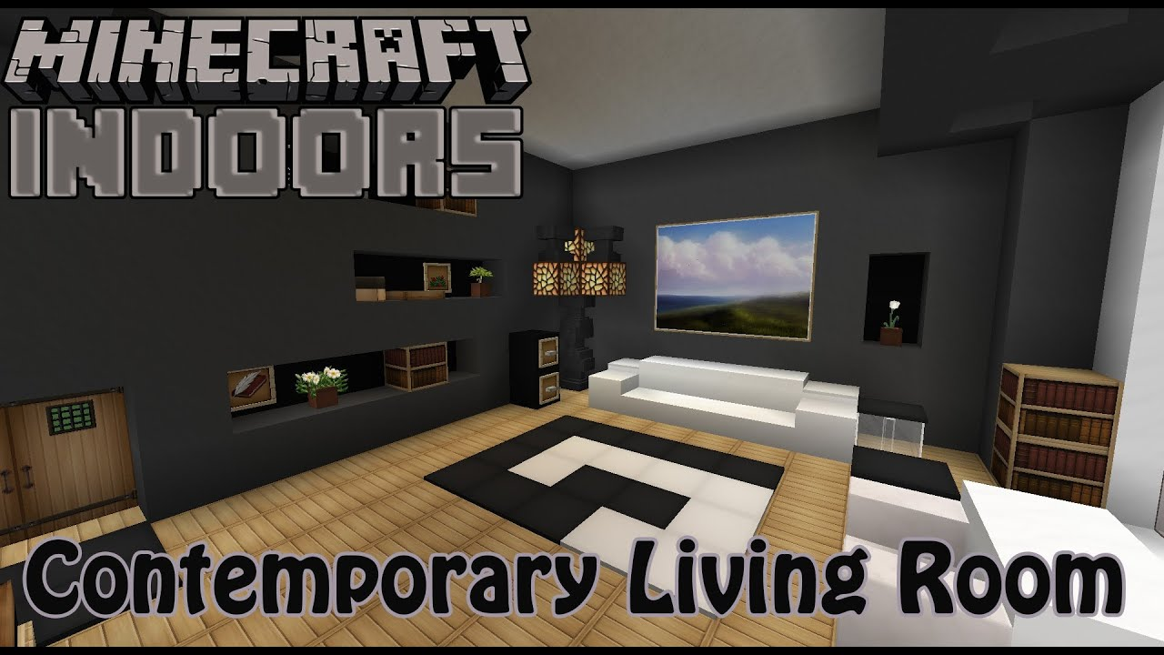 Modern Living Room Minecraft contemporary living room - minecraft indoors interior design - youtube