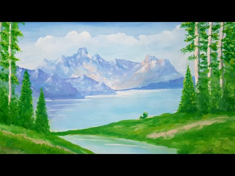 How to paint a Simple landscape With Poster Colour | Art Canvas