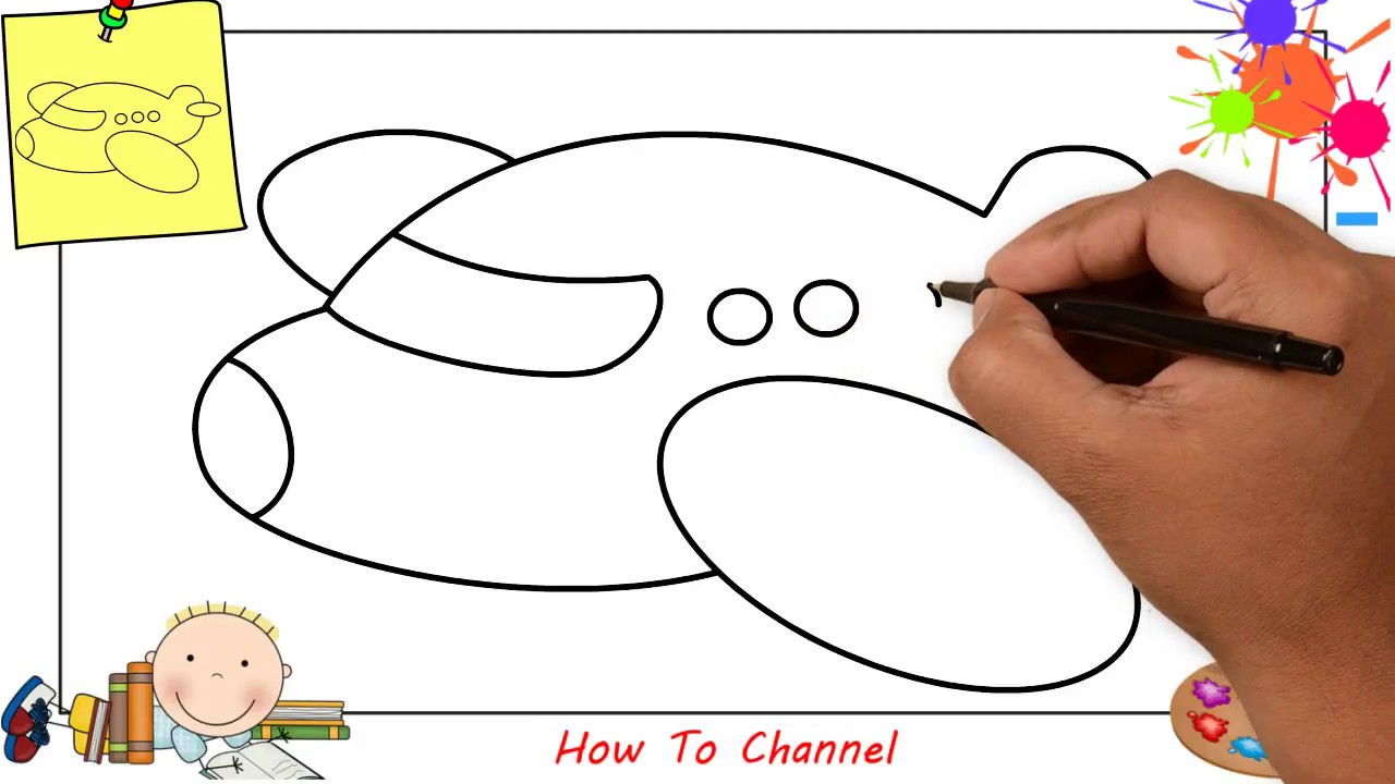How to draw a plane EASY step by step for kids, beginners ...