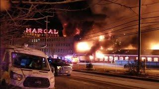 P-1 ** Fire Apocalypse** HISTORIC MARCAL PAPER FACTORY INFERNO W/ COLLAPSE ELMWOOD PARK NJ 1-30-19