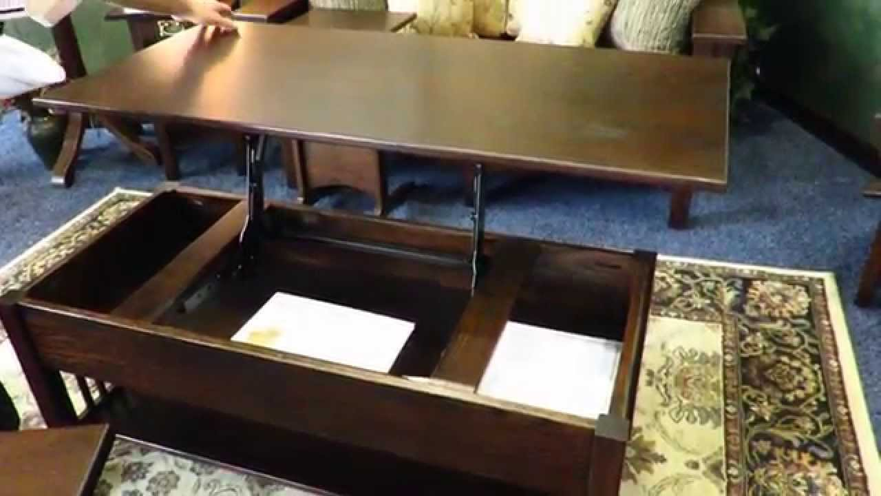 Mission rectangular lift top coffee table at dutchcrafters youtube geotapseo Choice Image