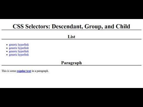 Descendant And Group Selectors With CSS