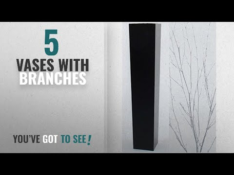 Top 10 Vases With Branches [2018 ]: GreenFloralCrafts Silver Bamboo Branches in Tall Tapered Black