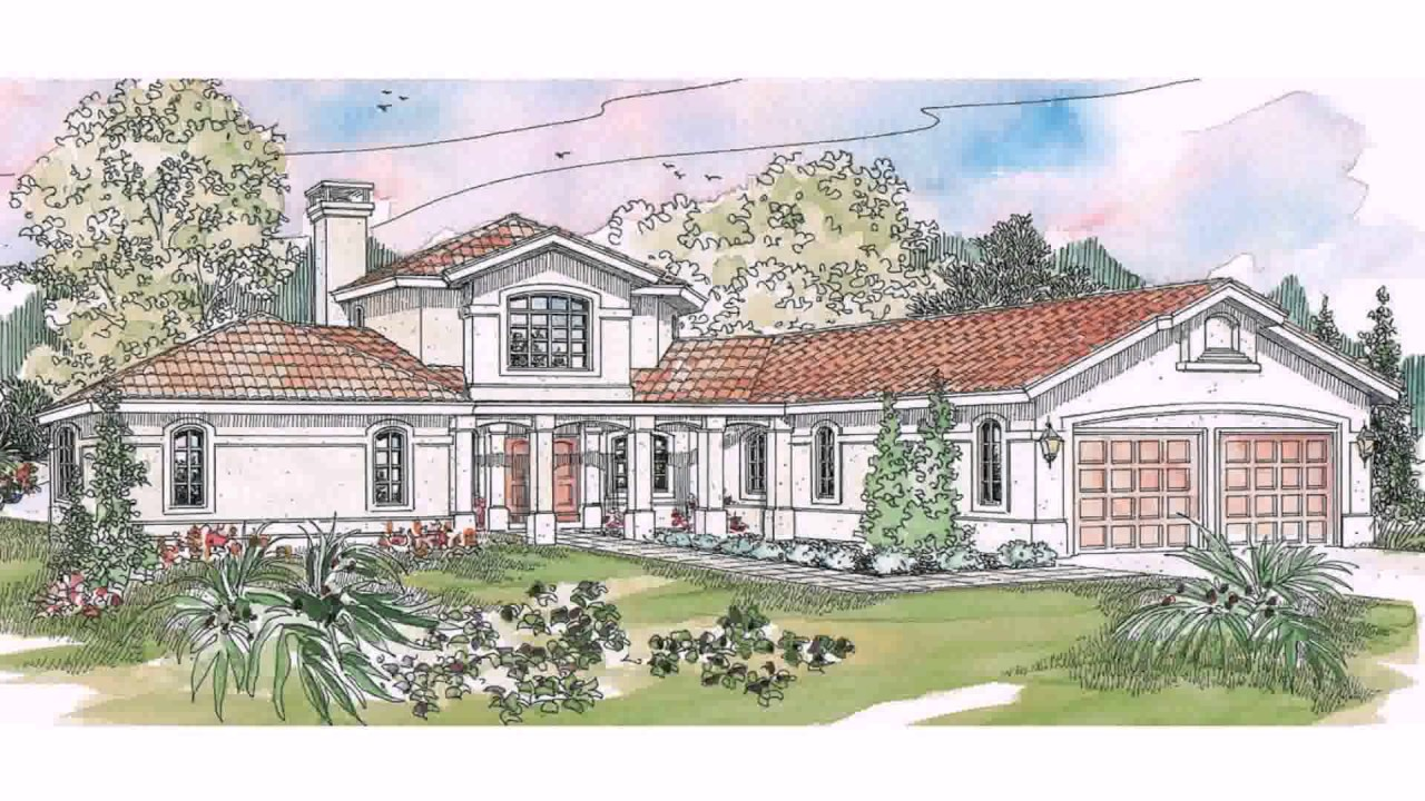 Hacienda style house plans with courtyard youtube for Territorial home design
