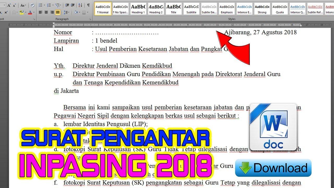 Download Contoh Surat Pengantar Kepala Sekolah Inpasing 2018