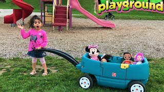 Outdoor Playground fun with Sally and baby dolls!! funny video