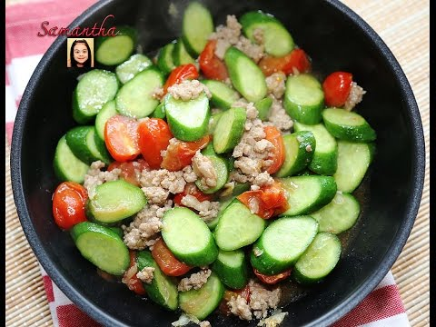 Cucumbers And Cherry Tomatoes Stir Fry With Minced Pork (Thai Recipe)