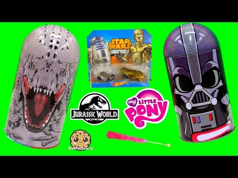 Indominus Rex Jurassic World + Darth Vader Star Wars Tins With Surprise Blind Bag Toys Unboxing