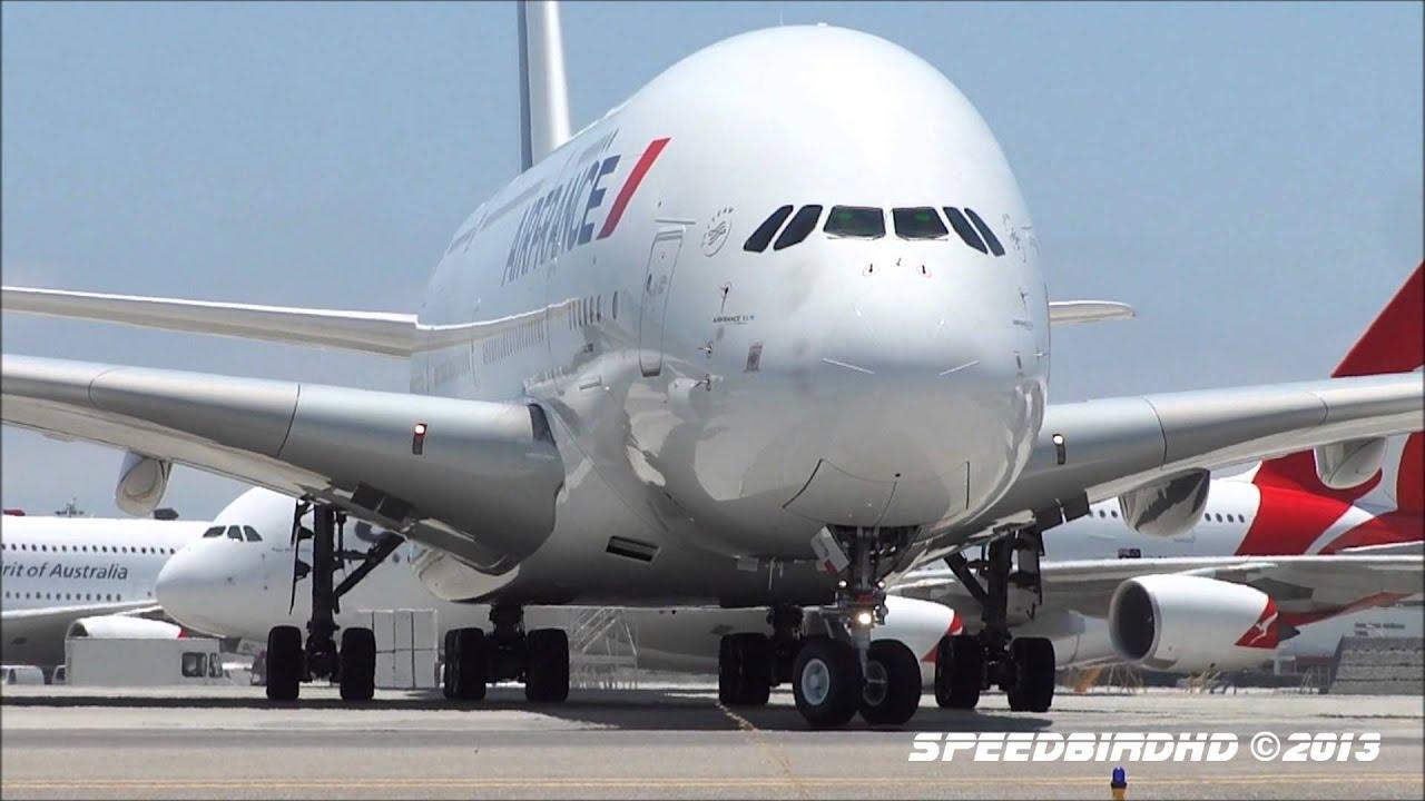 Air France Airbus A380-861 [F-HPJA] CLOSE UP Landing, Taxi ...