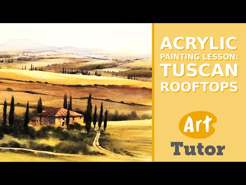 Acrylic Painting Lesson: Tuscan Rooftops