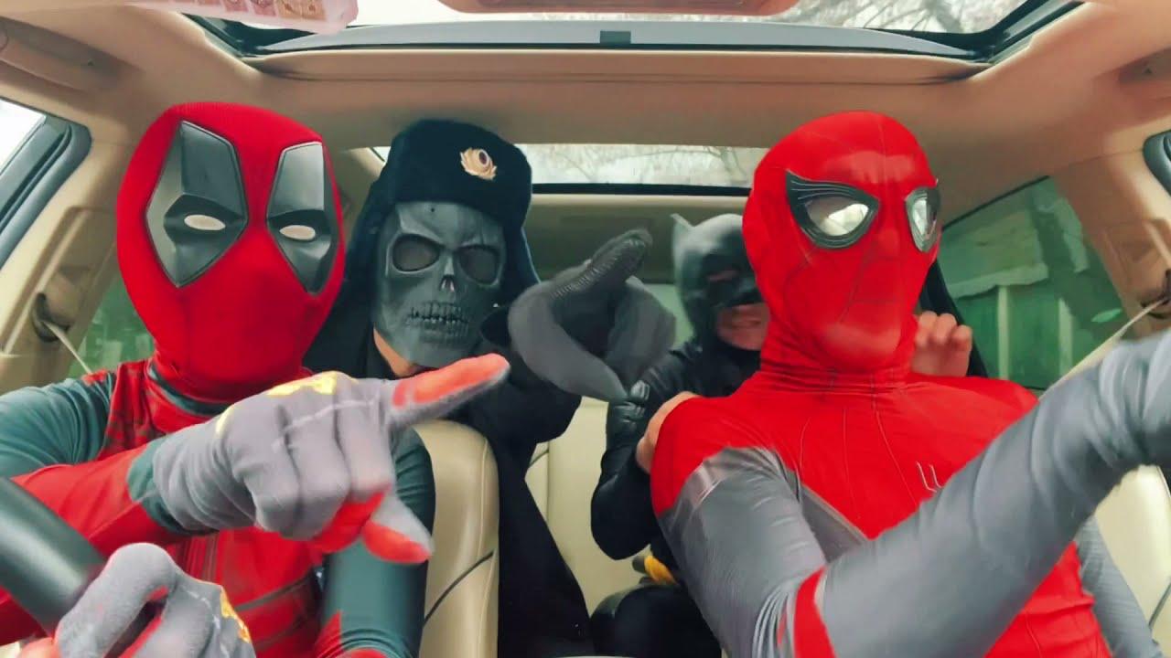 SPIDER-MAN DEADPOOL CAPTAIN AMERICA BATMAN FUNNY DANCE IN THE CAR