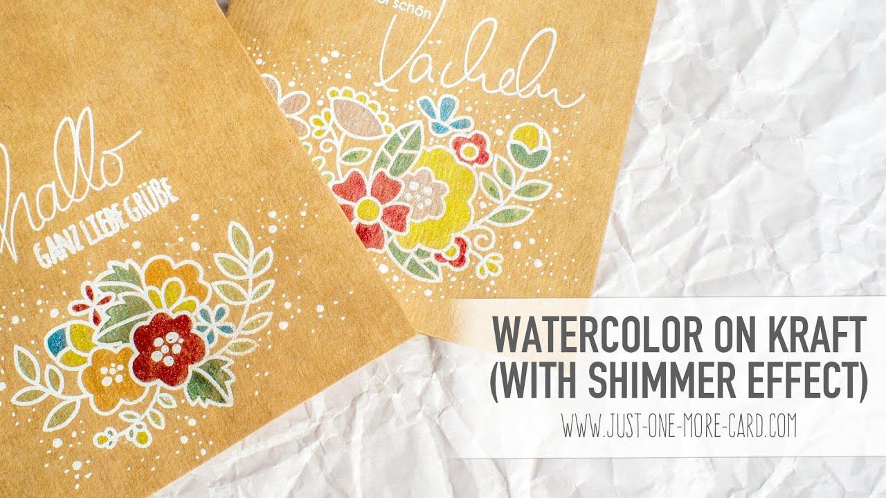 watercolour Neutral card All good kraft paper