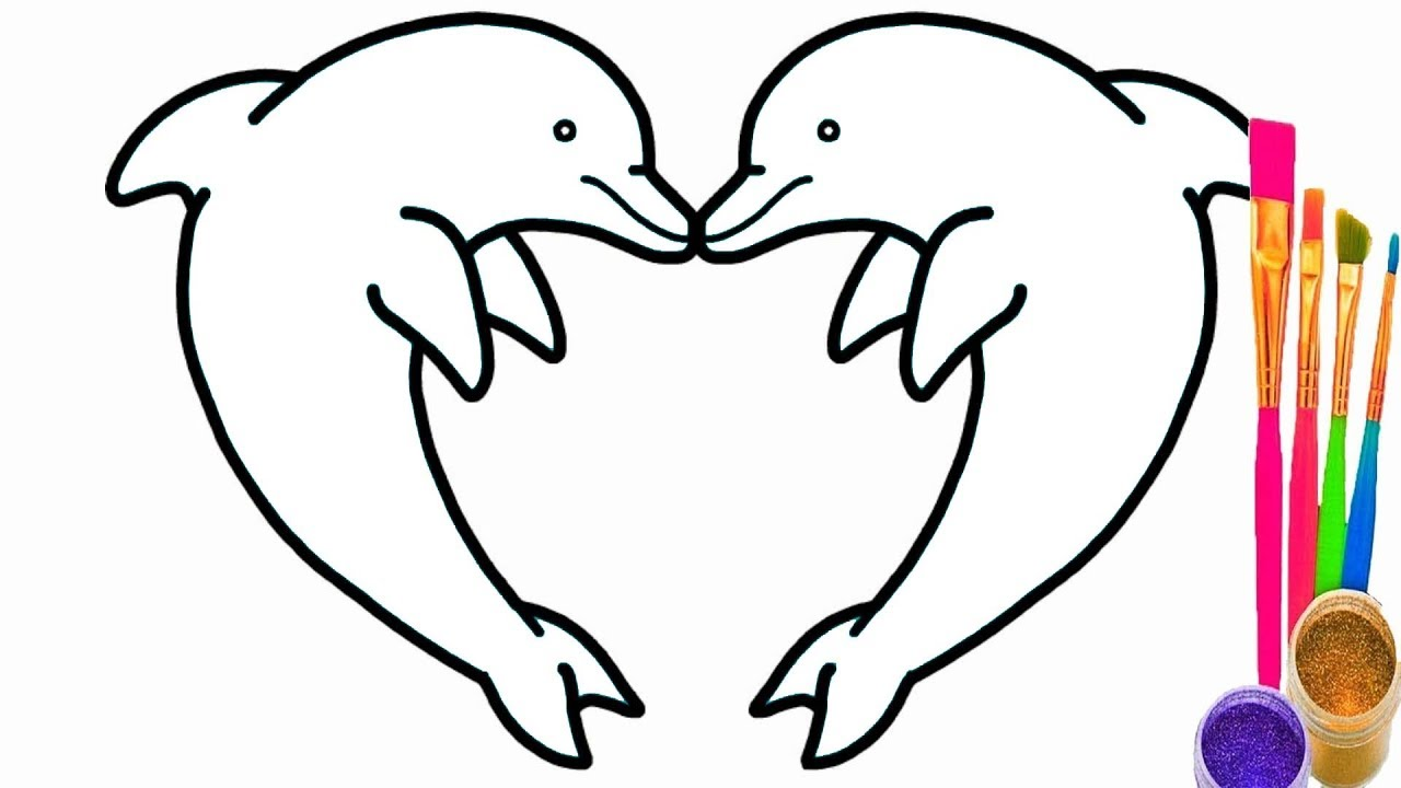 Dolphin Heart Coloring pages | How to Draw Dolphin Heart and ...