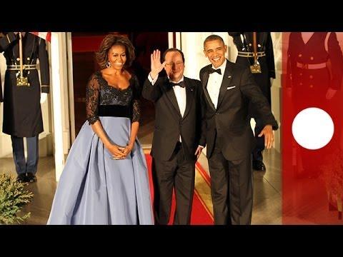 'Long live the USA' : Hollande, accueilli en grande pompe par Obama, porte un toast - vidéo