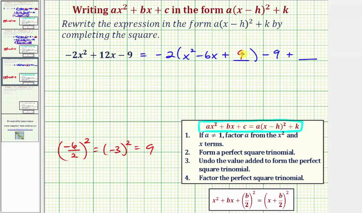 Ex: Write Ax^2+bx+c In The Form A(xh)^2+k  Negative A