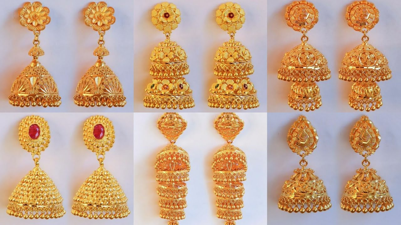 Latest Gold Pinjara Jhumka Earrings Designs With Weight Price