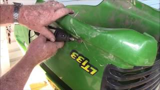 Finishing up the John Deere plastic hood repair