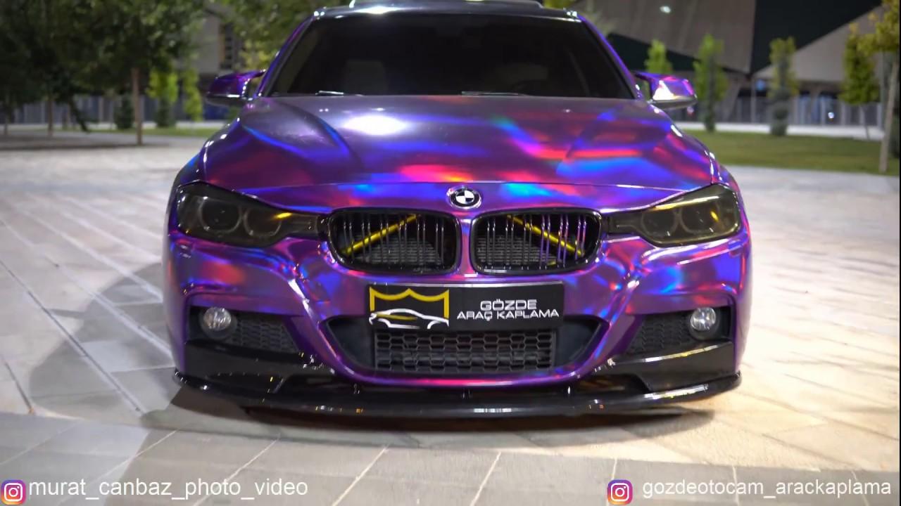 Bmw F30 Mor Hologram Kaplama 34 Jf 2343 Gozdearackaplama Youtube