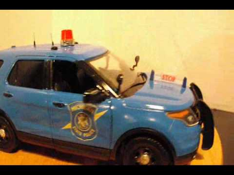 Blue police vehicle