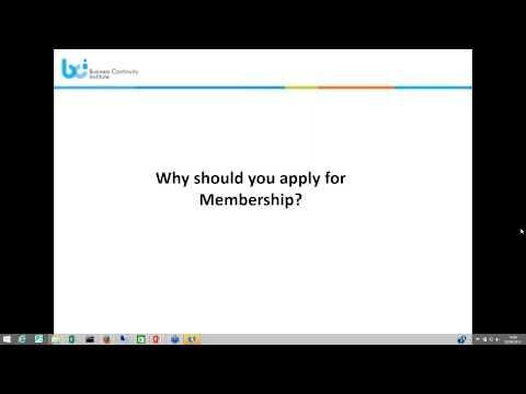 Business Continuity Institute Membership Webinar
