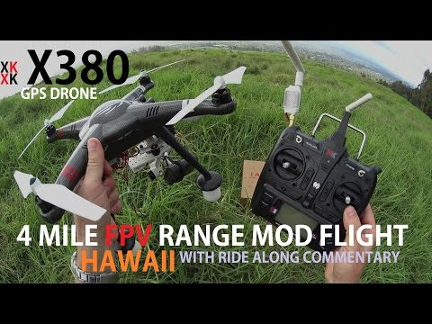XK X380 GPS Drone Long Range Mod - 4 Mile FPV Flight  [With In Flight Commentary]