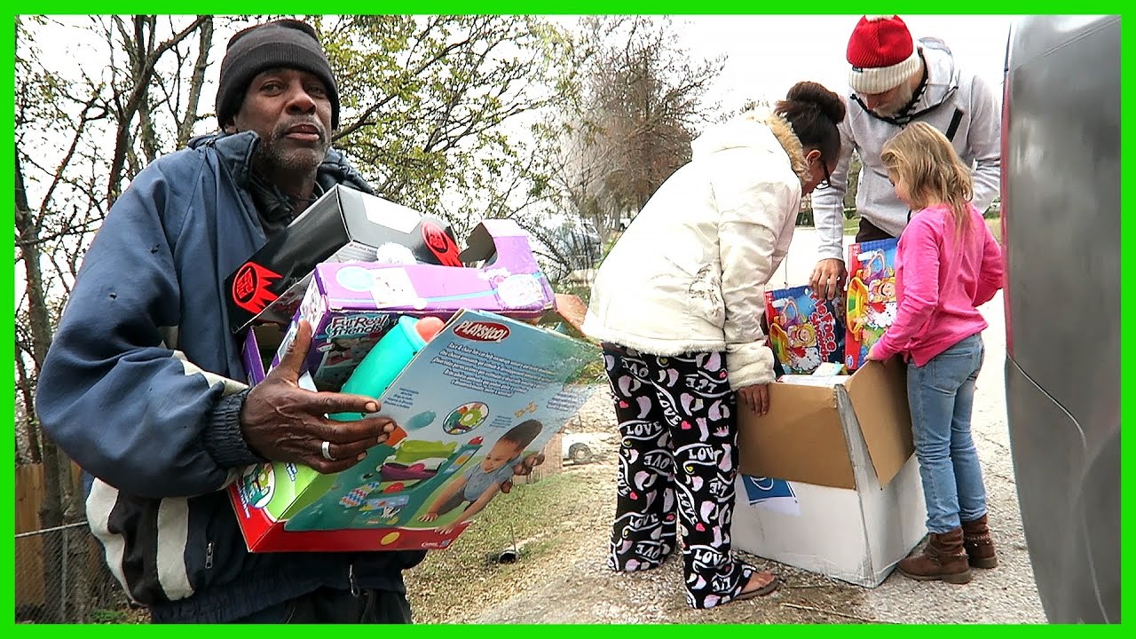 handing out toys for christmas youtube
