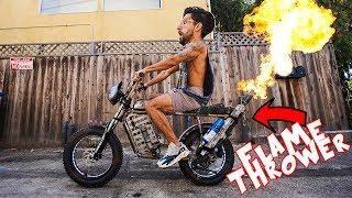 Flamethrower Powered Bike!!!