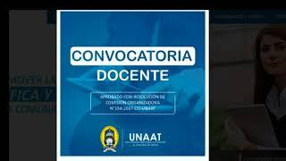 CONVOCATORIA  DOCENTE A TIEMPO COMPLETO UNAAT   (05 - 10 - 2017)