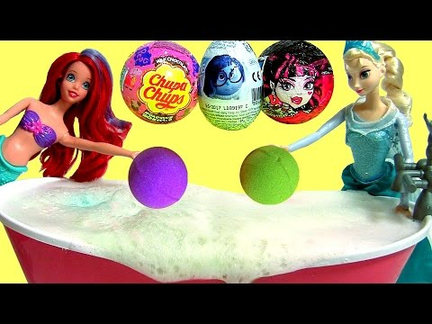TOYS SURPRISE Chupa Chups MonsterHigh Peppa Ariel Mermaid Elsa Swimming In Bath Bombs Disney Frozen