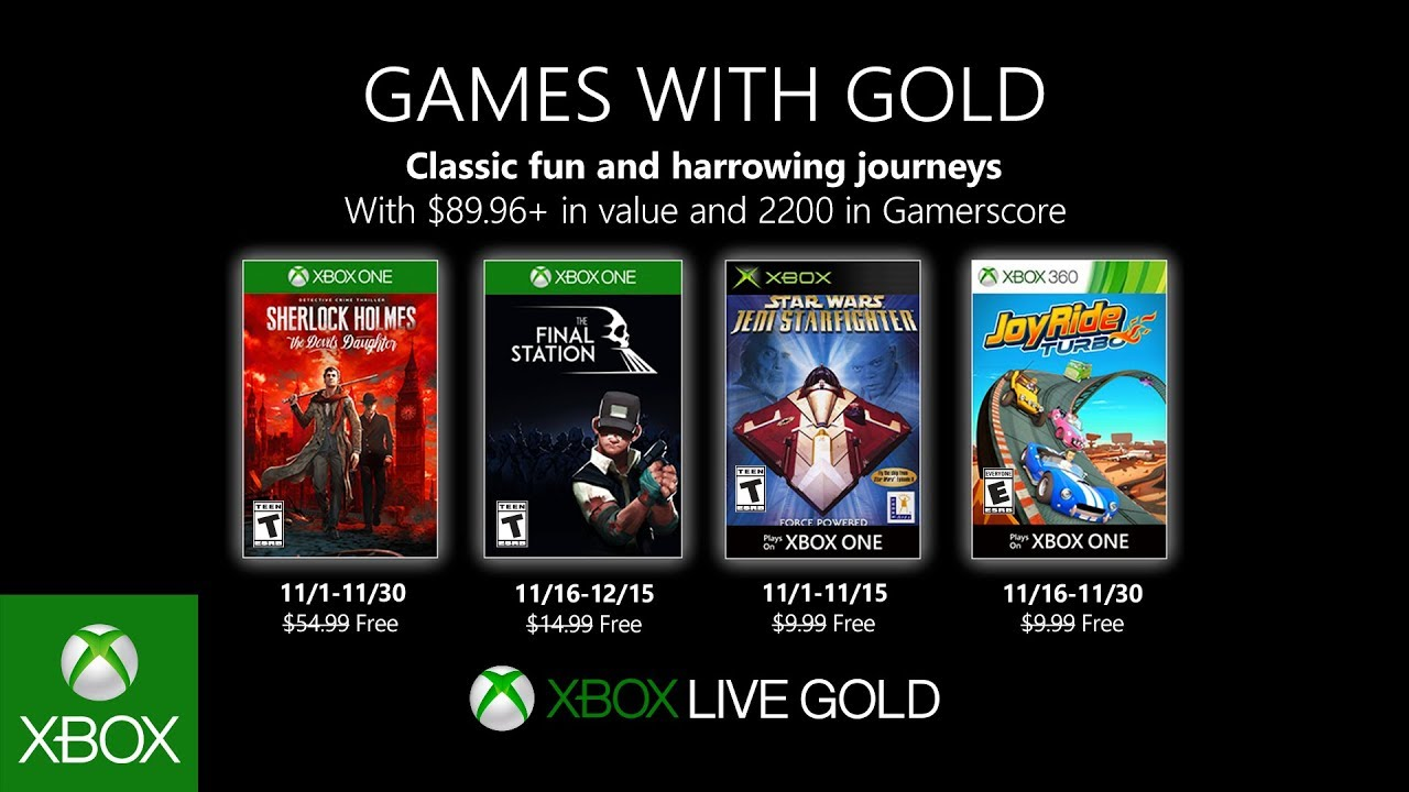 Xbox November 2019 Games With Gold Youtube