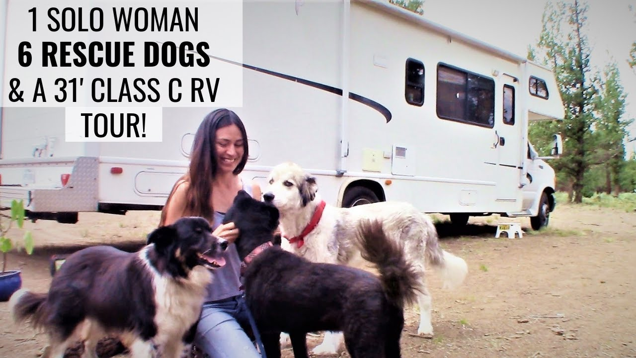 Meet A SOLO FEMALE RVer with SIX RESCUE DOGS Traveling in a CLASS C RV!  TOUR HER RIG AND LEARN... - YouTube