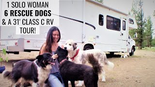 meet-a-solo-female-rver-with-six-rescue-dogs-traveling-in-a-class-c-rv-tour-her-rig-and-learn